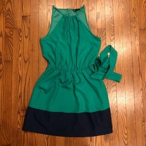 Express green and navy block party dress size M